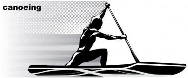 Stylized vector illustrations athlete canoe