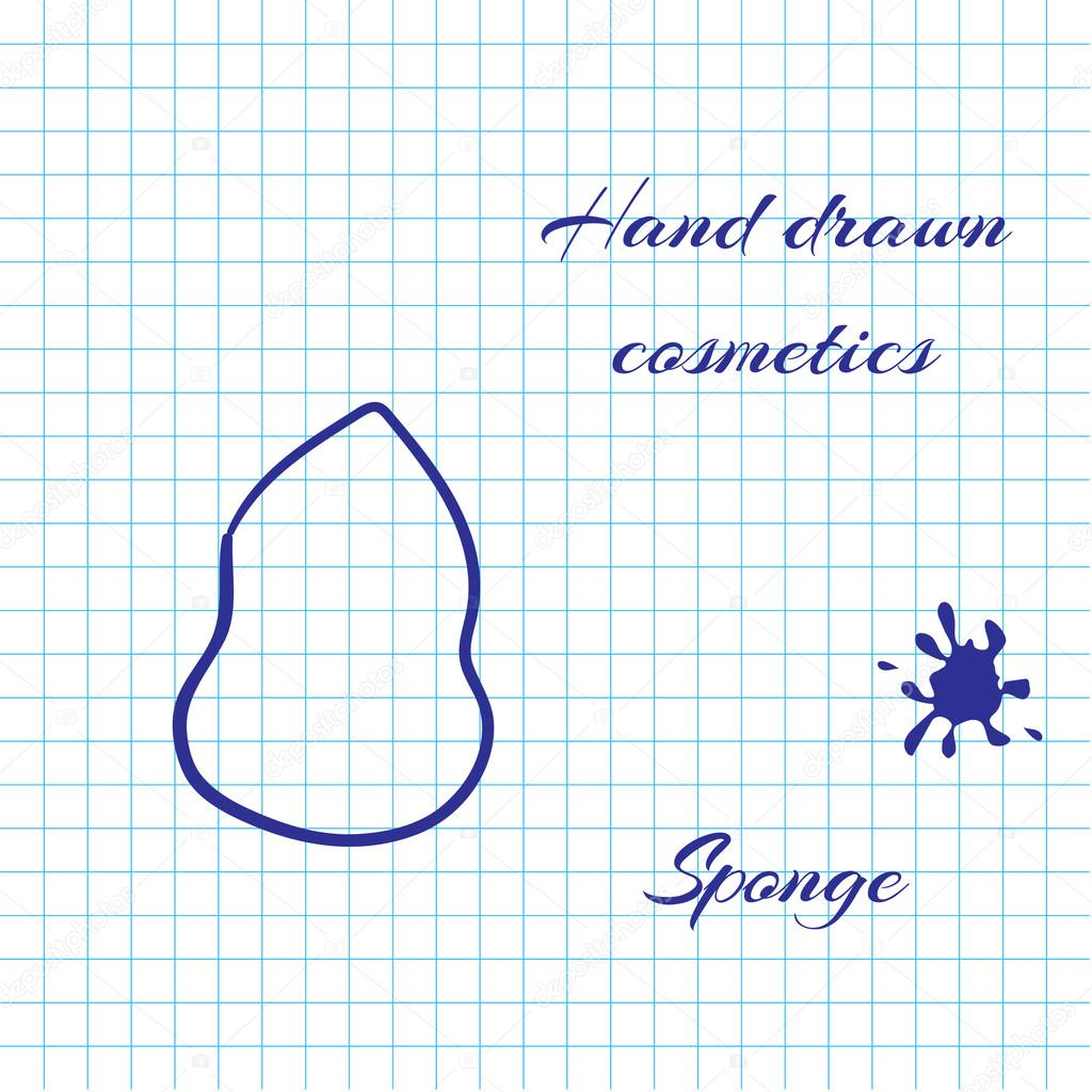 Handgezeichnete Kosmetik Linie Kunst am Notebook Papierhintergrund ...