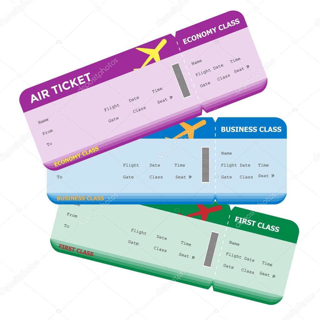 Three Classes Of Blank Flight Boarding Pass Different Colors Stock Vector C Crispersonally 64372927