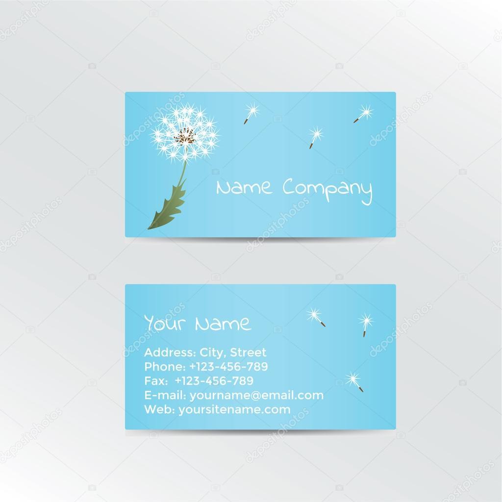 Business Card With Dandelion On Blue Background Vector Illustration Vecteur Par