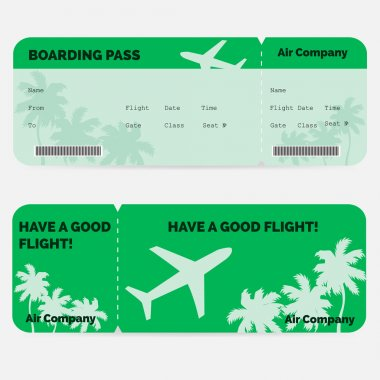Airline boarding pass. Green ticket isolated on white background