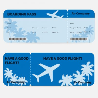 Airline boarding pass. Blue ticket isolated on white background