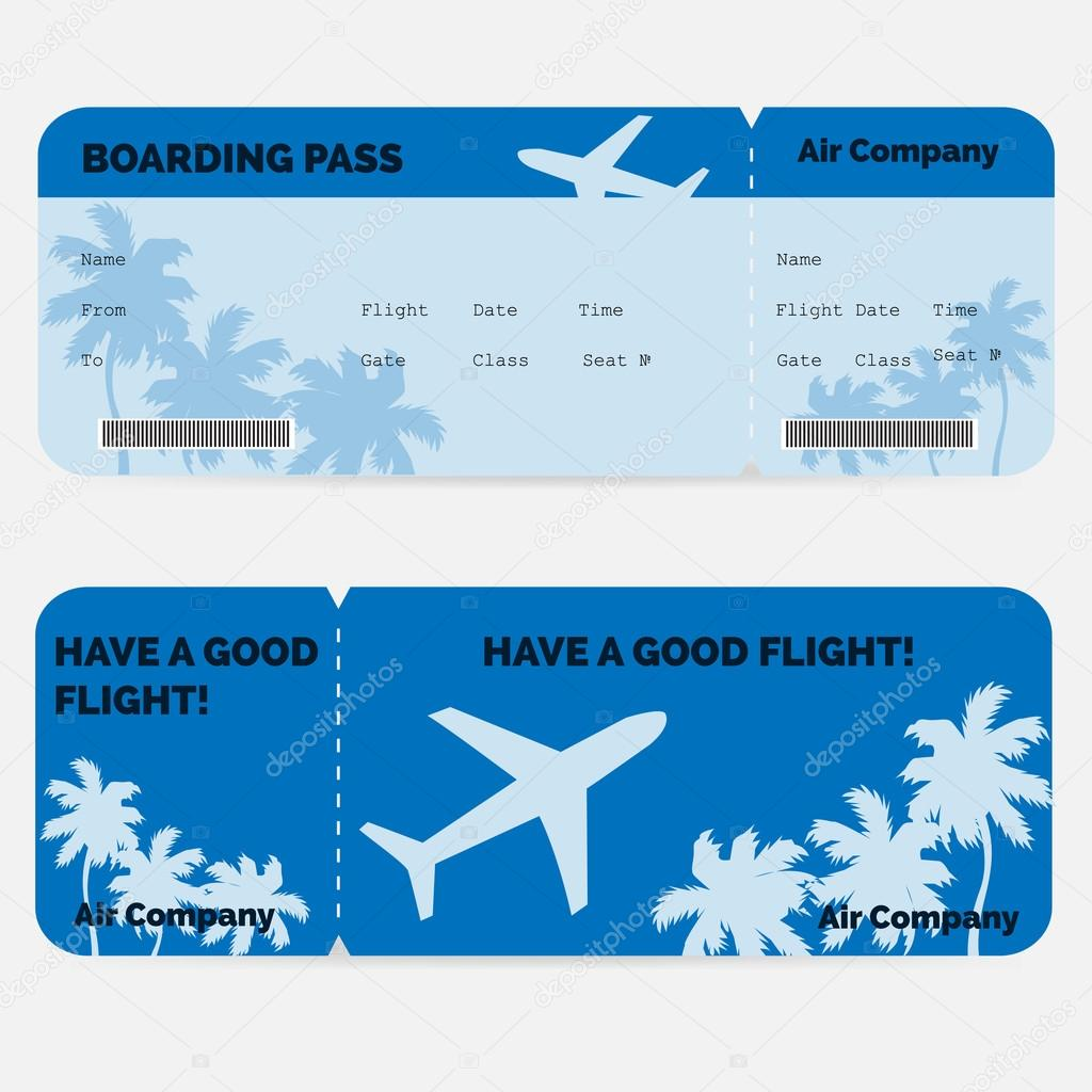 Airline Boarding Pass Blue Ticket Isolated On White Background