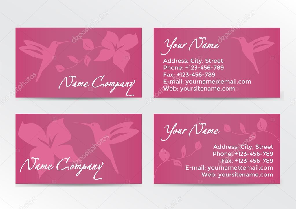Conception De Cartes Visite Avec Colibri Sur Fond Rose Image Vectorielle