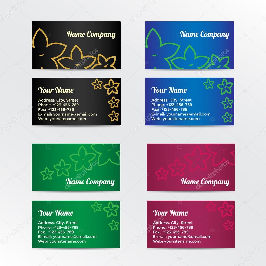 Set of colorful business card with abstract flowers