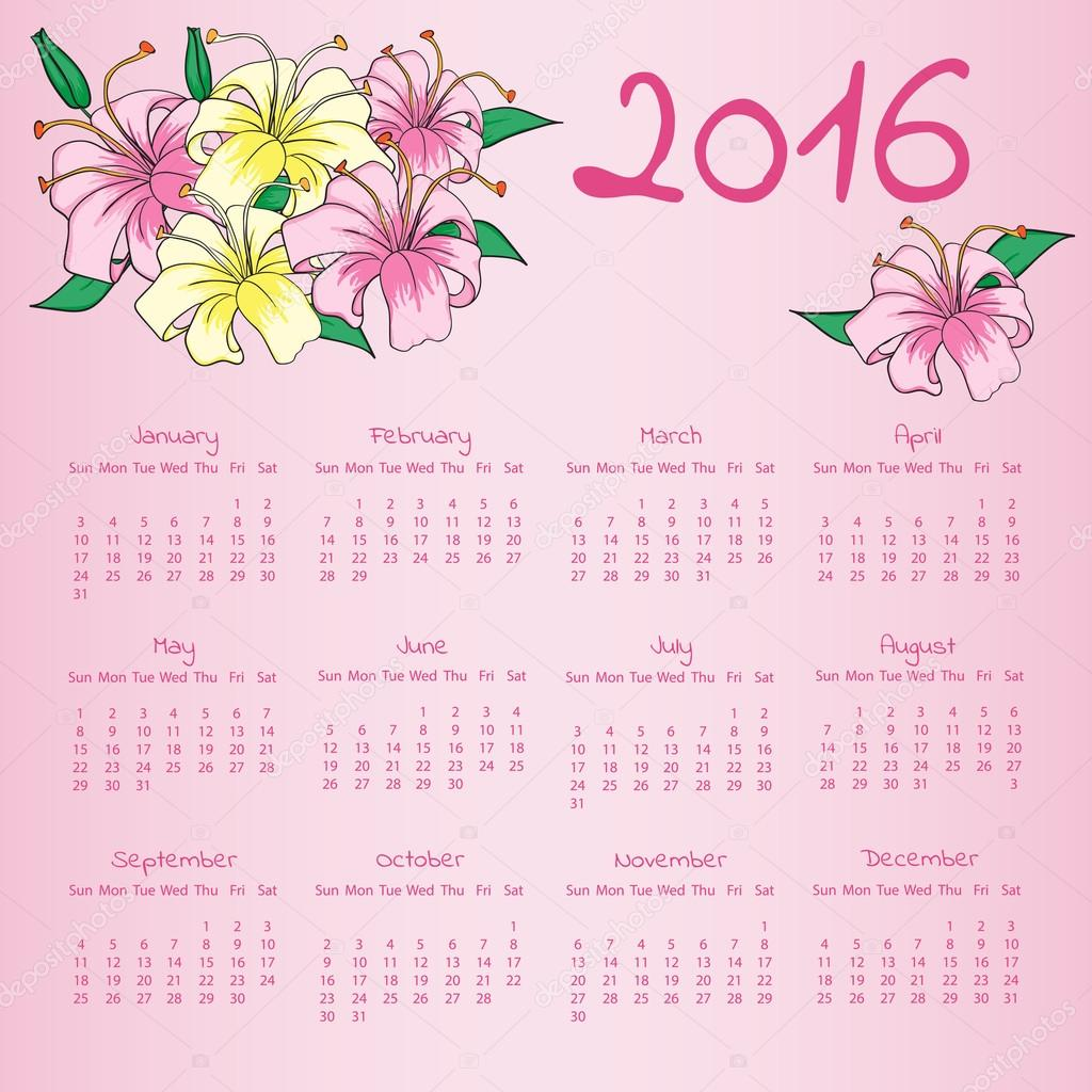Calendar 2016 With With Lily Flowers On Pink Background Stock