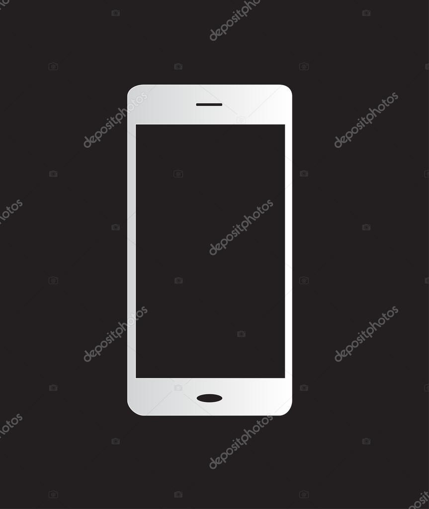 vektor handy mobile phone symbol wei und schwarz. Black Bedroom Furniture Sets. Home Design Ideas