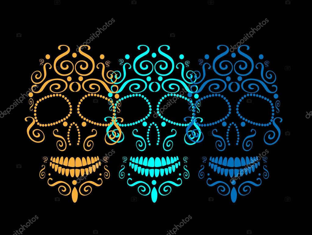 Skull Vector Background For Fashion Design Patterns Tattoos Day Of The Dead