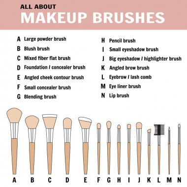 Brushes for makeup - vector illustration
