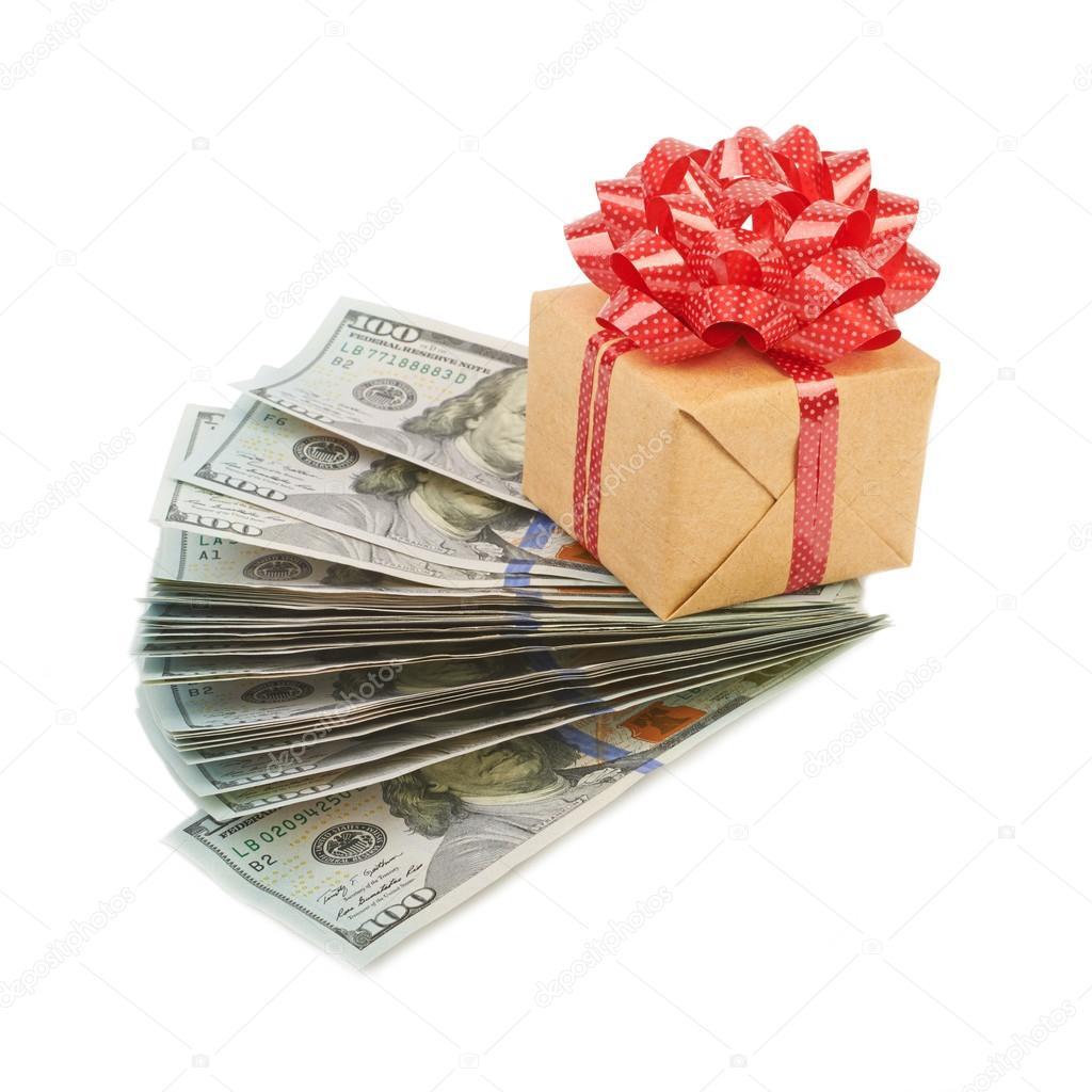 hundred dollar bills and gift box stock photo marynka 76030375