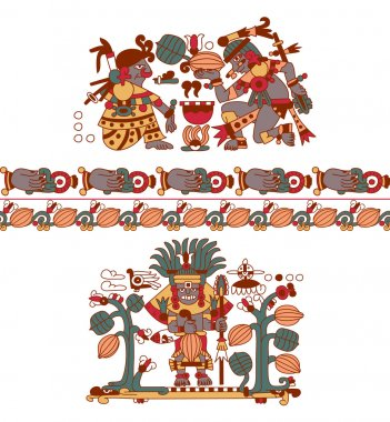 aztec pattern cacao tree, mayans, cacao beans and decorative bo
