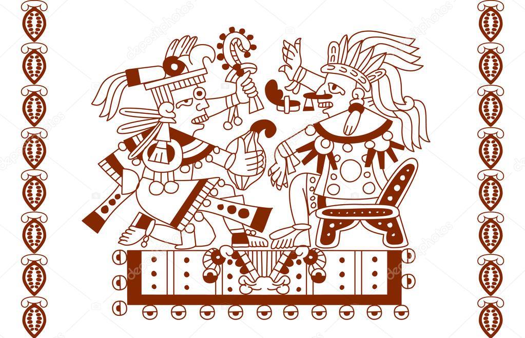 Croquis dessin mod le plumes feuilles f ve de cacao azt que image vectorielle - Dessin azteque ...