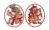 skica, kresba aztécký kakaových bobů, listy, drť, vzor pro čoko