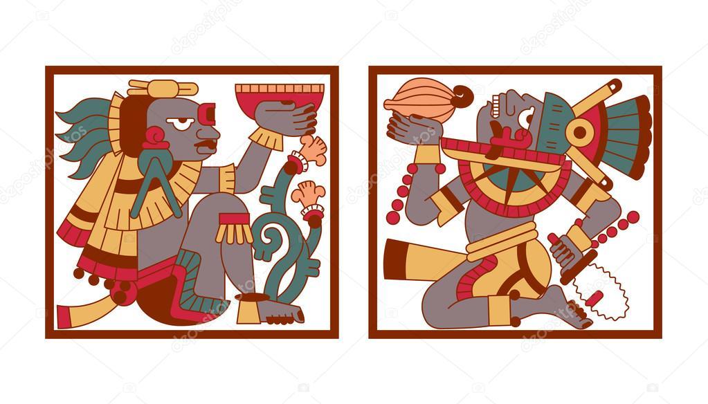 Dibujos Mayas A Color Patrón Maya Azteca Y Cacao Avispado