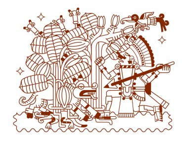 sketch drawing aztec cacao bean, leaves, nibs, pattern