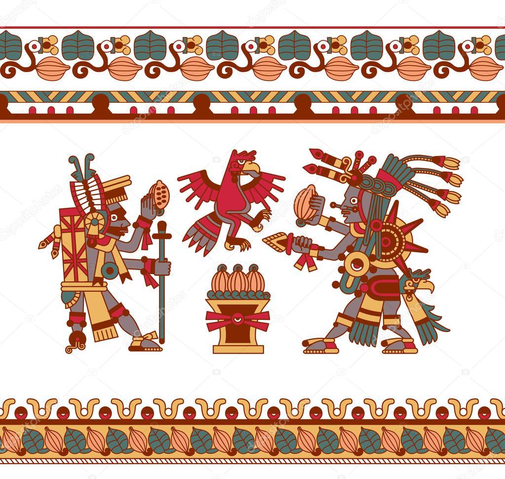Croquis dessin de f ve de cacao azt que feuilles plumes mod le pour choco image vectorielle - Dessin azteque ...