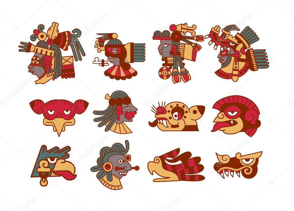 Aztekische Maya Avatar Sammlung Stockvektor Sergeygerasimov