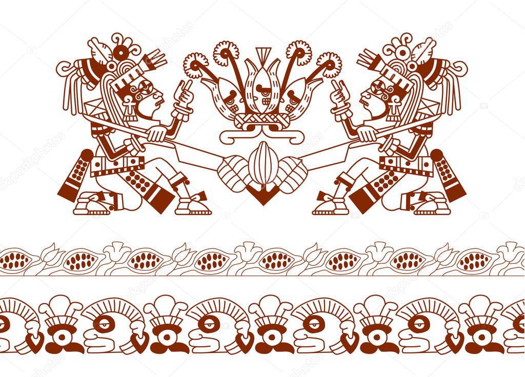 boceto dibujo Azteca haba de cacao, hojas, semillas, patrón de choco ...