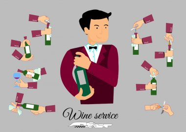 wine open info graphic with character flat style