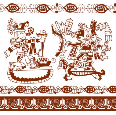 aztec silhouette seamless pattern with cocoa beans, leaves, indi