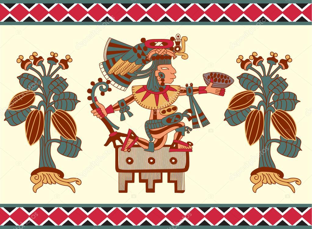 Boceto Dibujo Color De Patrones Sin Fisuras Maya Azteca Y Cacao