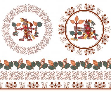 contour pattern maya, aztec and cacao nibs on brown, red, yellow, green and grey colors in white background