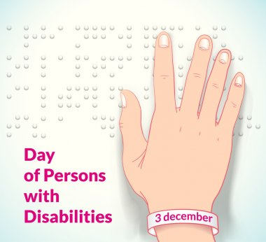 poster to world day of persons with disabilities with blind man