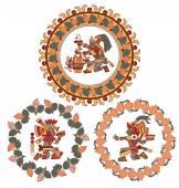 Kontury vzoru Mayo, aztécké a kakaové boby, čokoládové label logo
