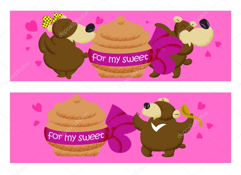 Valentine Day Banner With Brown Cartoon Funny Bears On Pink Bac