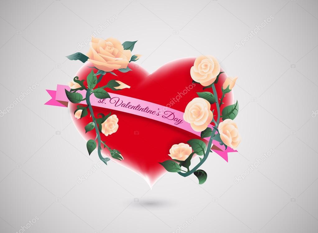 tarjeta para el día de San Valentín con la cinta corazón rojo, color ...