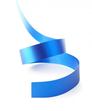 Curved blue paper ribbon isolated on white. Close up. Celebratory image stock vector