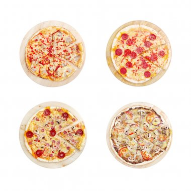 Set with four different pizza