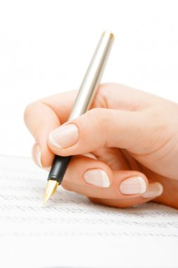 Woman hand showing statistics paper
