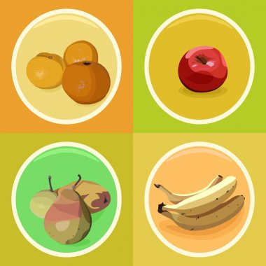 Set of fruit stickers with mandarins, apple, pears and bananas