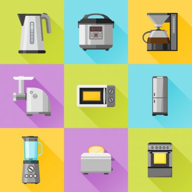 Set of household appliances flat icons. Coffee maker, kettle, multicooker, microwave oven, refrigerator, stove, meat grinder, blender, toaster