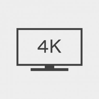 4k television or computer monitor monochrome icon