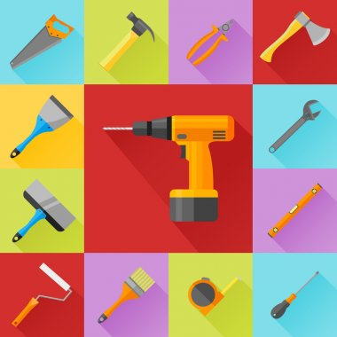 Set of construction tools flat icons
