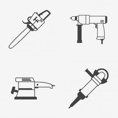 Set of power electric tools monochrome icons. Chainsaw, hand drill, sander and angle grinder.