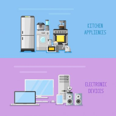 Kitchen appliances and electronic devices horizontal banners. Flat style vector illustration.