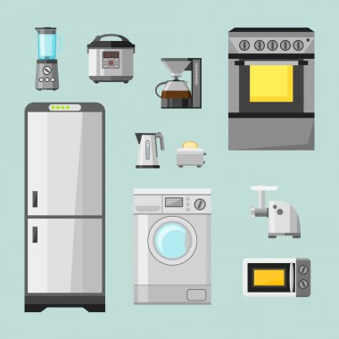 Kitchen appliances flat icons set. Set of cooking elements.