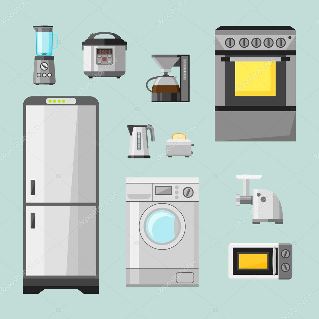 Kitchen appliances flat icons set. Set of cooking elements. — Stock ...