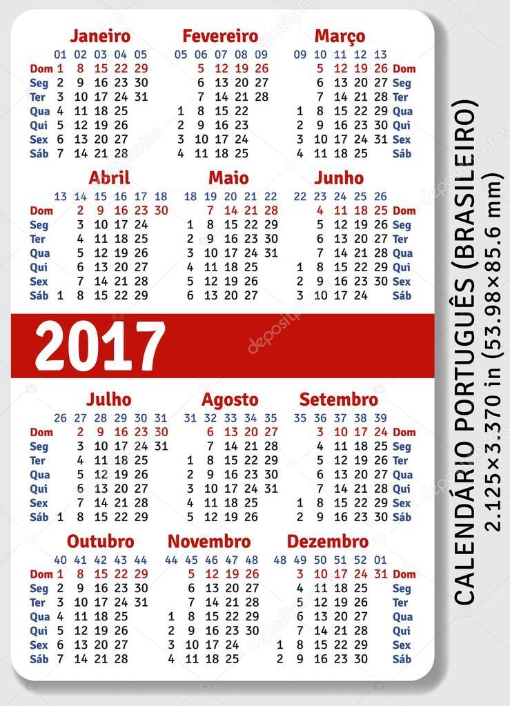 Portuguese Brazilian Pocket Calendar For 2017 Stock Vector