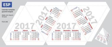 Template spanish calendar 2017 pyramid shaped