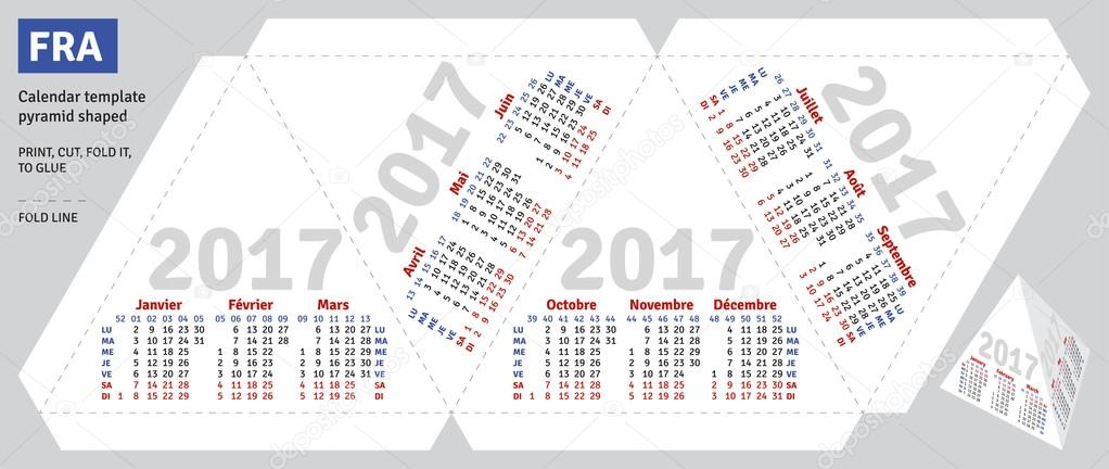 Template French Calendar 2017 Pyramid Shaped Stock Vector
