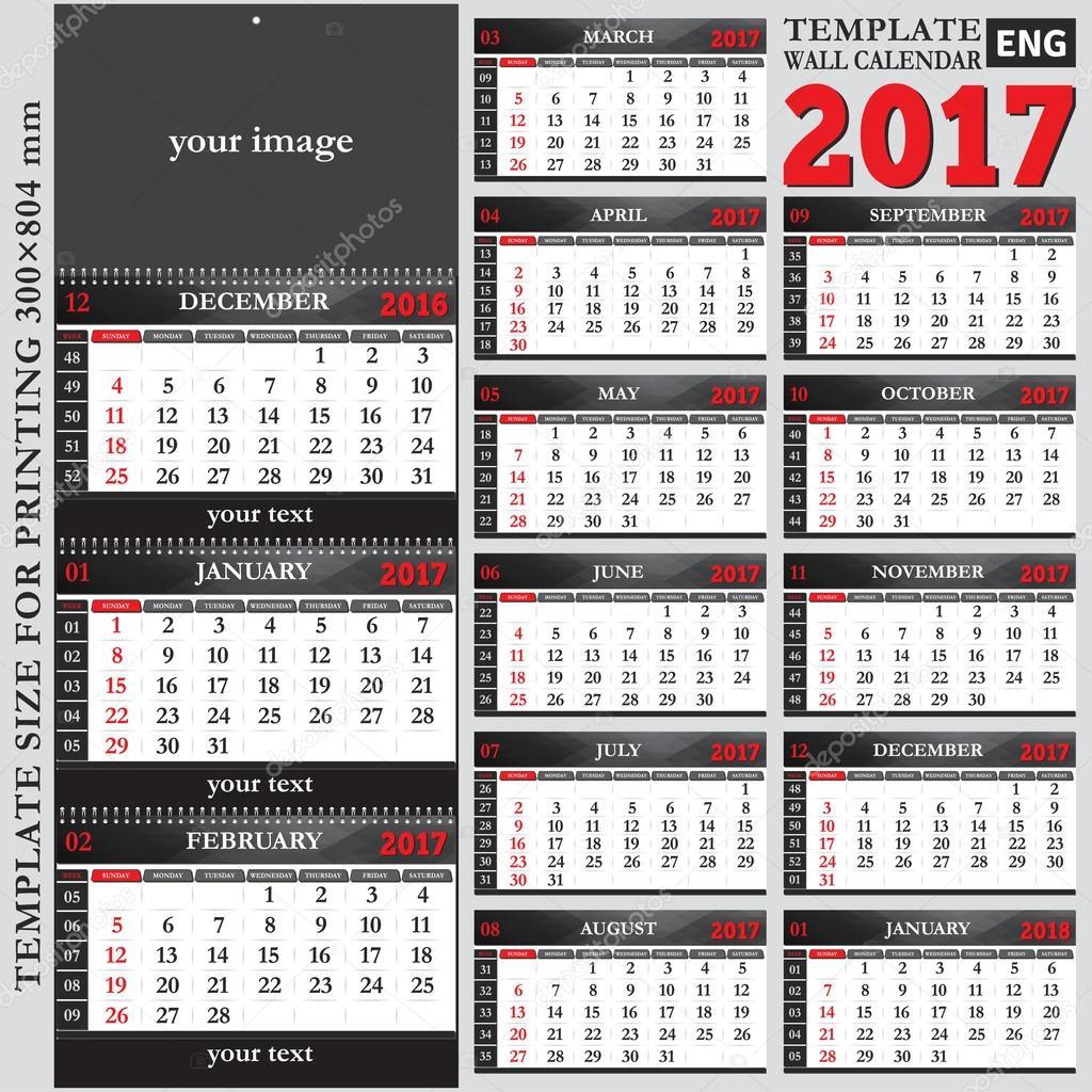English template wall quarterly calendar 2017 — Stock Vector ...