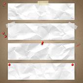 Sada vodorovných bannerů s texturou zmačkaný papír