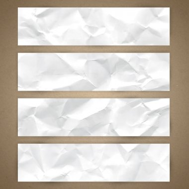 Set of horizontal banners with the texture of crumpled paper