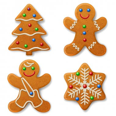 Christmas gingerbread, decorated colored icing