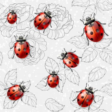 Seamless texture with flowers and ladybugs