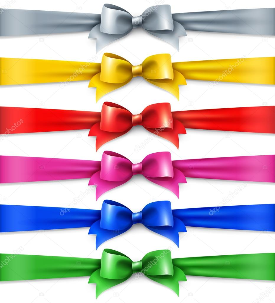 Set of multicolored shiny ribbons